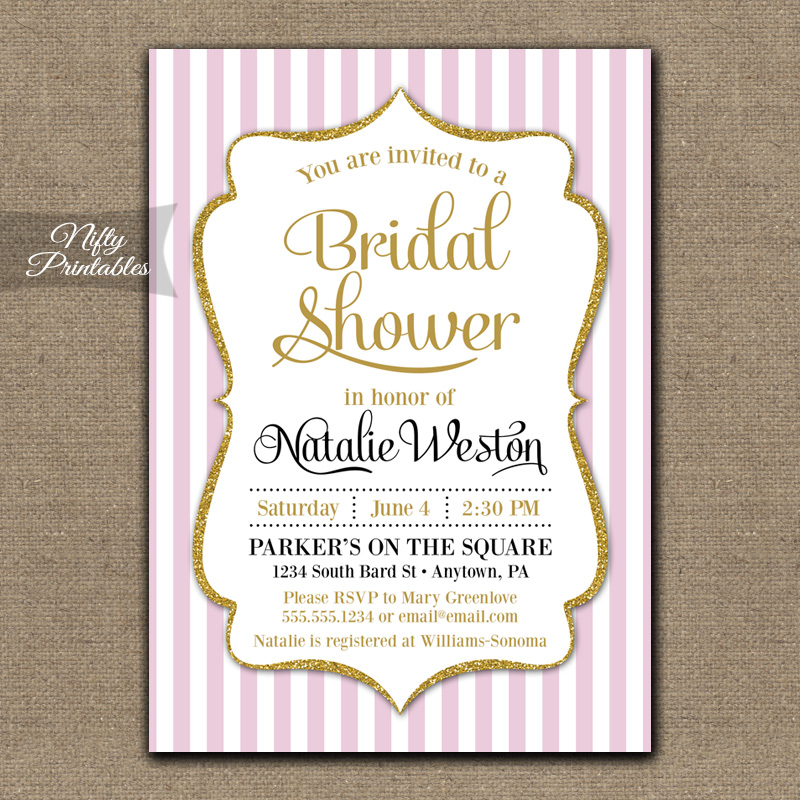 pink gold bridal shower invitations