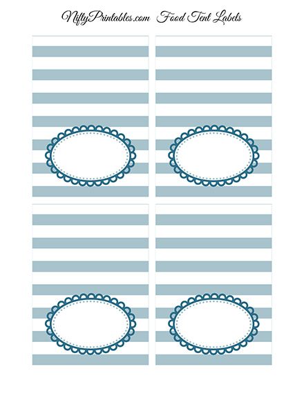 Blue White Blank Place Cards or Tent Cards