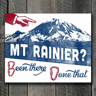 Mt Rainier Mountain Climbing Print