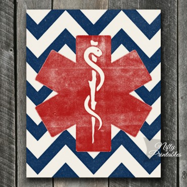 EMS EMT Star Print - Staff of Asclepius