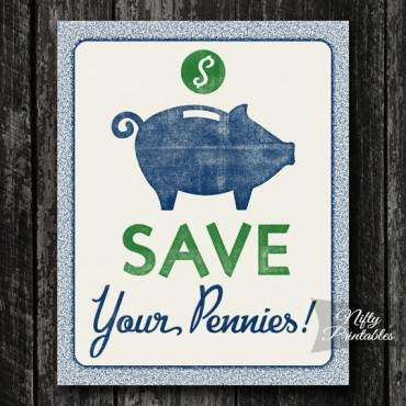 Piggy Bank Savings Print - Save Your Pennies