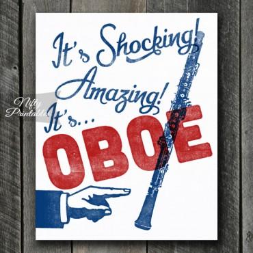 Oboe Print - Funny Retro