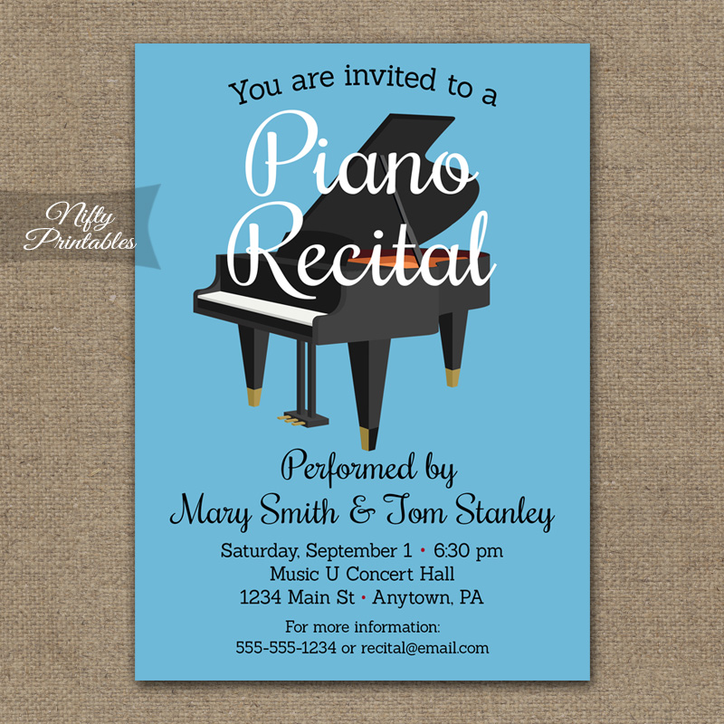 piano recital invitation nifty printables