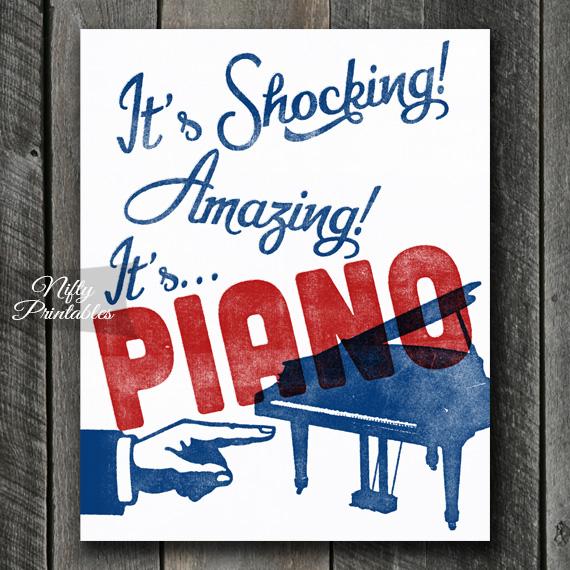 Piano Print - Funny Retro