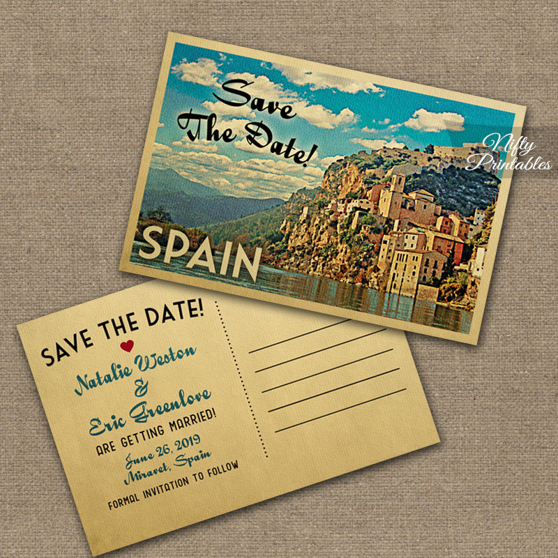 Spain Save The Date Postcards VTW