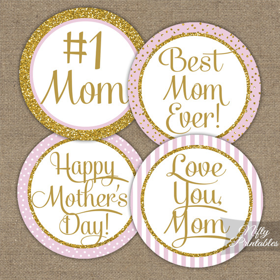 printable mothers day cupcake toppers pink gold. Black Bedroom Furniture Sets. Home Design Ideas
