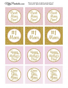 Mothers Day Cupcake Toppers - Pink Gold