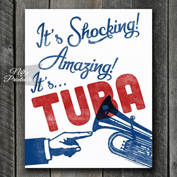 Tuba Print - Funny Retro