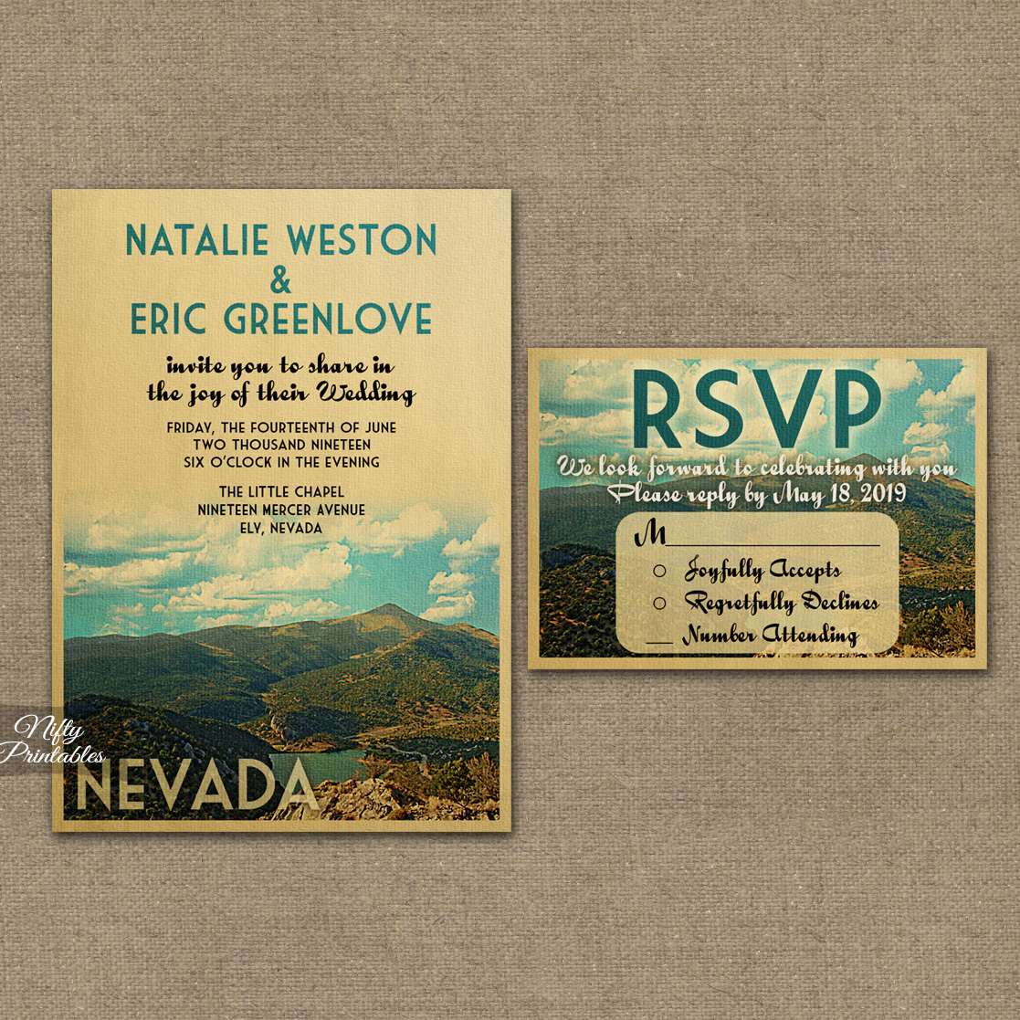Nevada Wedding Invitations VTW