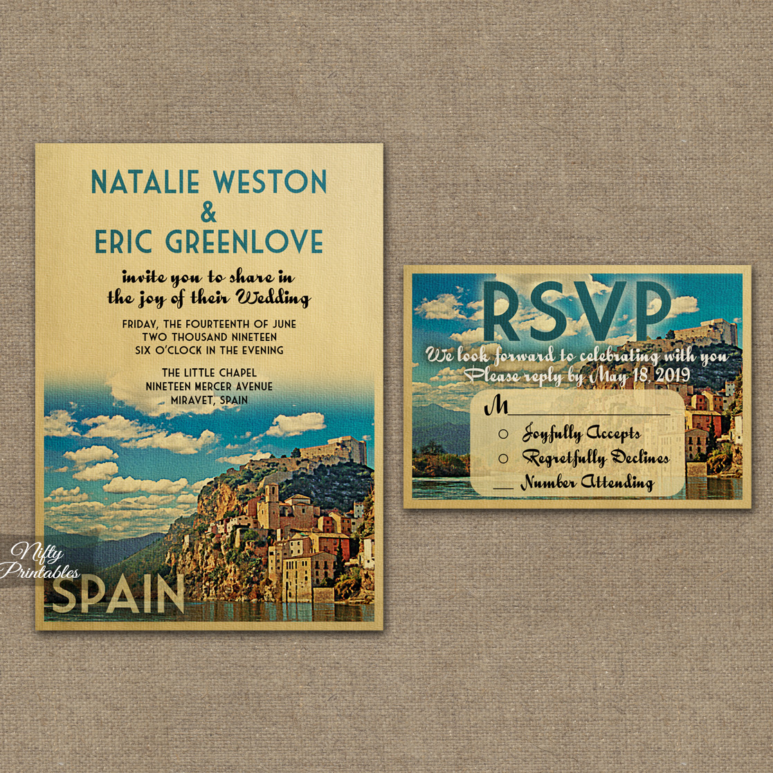 Spain Wedding Invitations VTW Nifty Printables