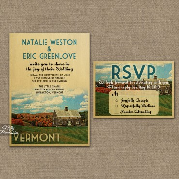 Vermont Save The Date Postcards VTW