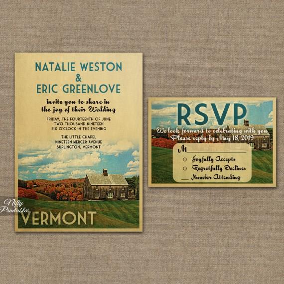 Vermont Wedding Invitations - Country Wedding VTW