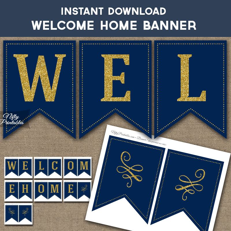 photograph regarding Printable Welcome Home Banner identified as Welcome Household Banner - Armed service Blue Gold
