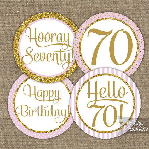 70th Birthday Cupcake Toppers - Pink Gold