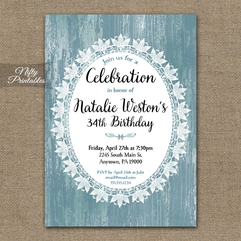 Lace Birthday Invitations - Rustic Blue Wood