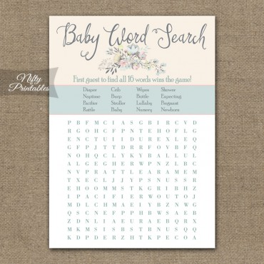 Baby Shower Word Search Game - Floral Bouquet