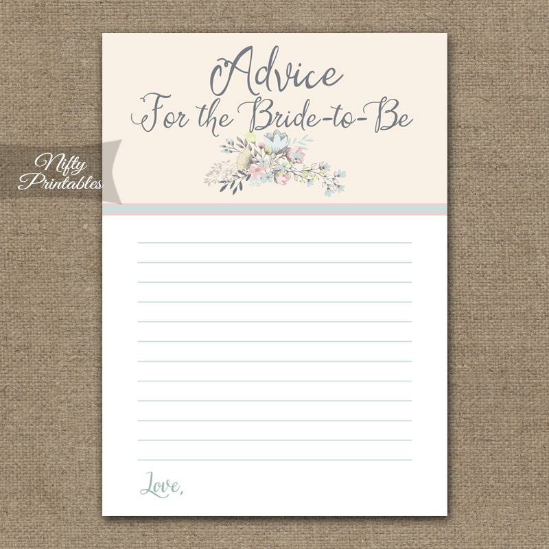 Bridal Shower Games Pass The Bouquet : Printable bridal shower advice cards floral bouquet