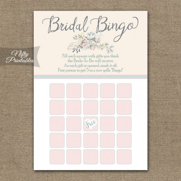 Bridal Shower Bingo Game - Floral Bouquet