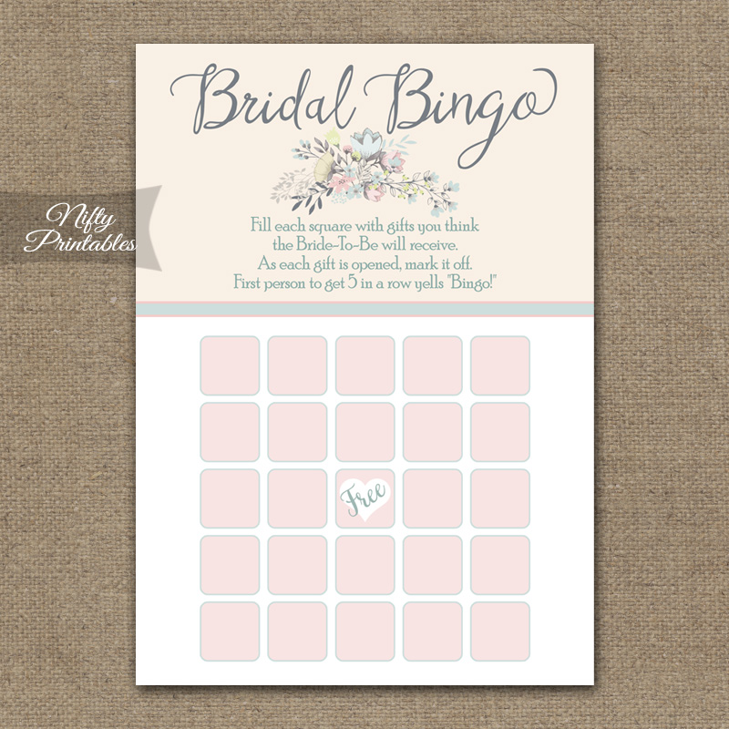 Bridal Shower Bingo Game - Floral Bouquet