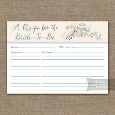 Bridal Shower Recipe Cards - Floral Bouquet