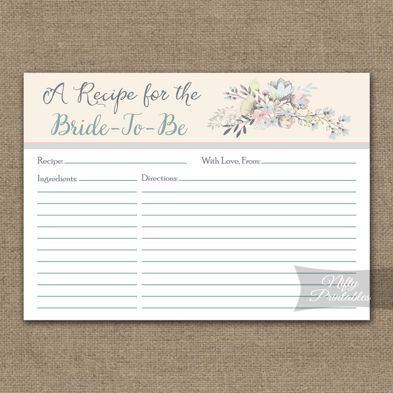 Bridal Shower Recipe Cards - Floral Bouquet