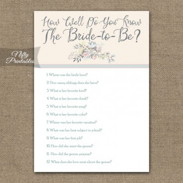 How Well Do You Know The Bride Trivia Game - Floral Bouquet