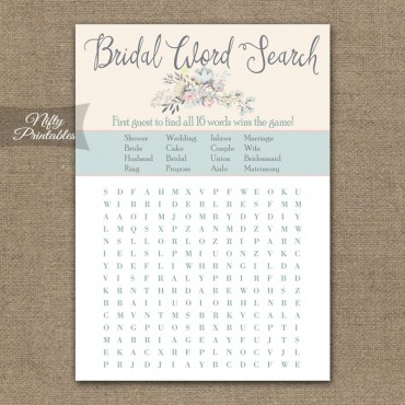 Bridal Shower Word Search Game - Floral Bouquet