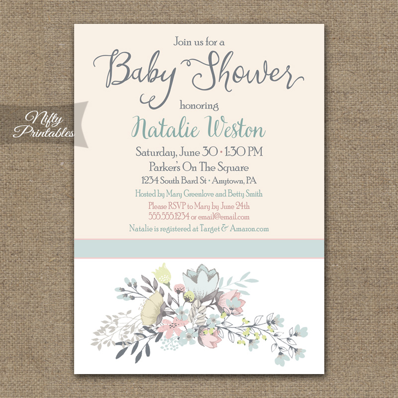 Floral Bouquet Baby Shower Invitations