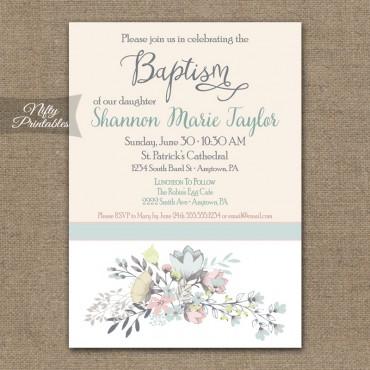 Floral Baptism Invitations
