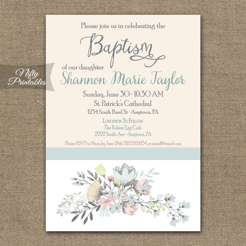 Floral Baptism Invitations