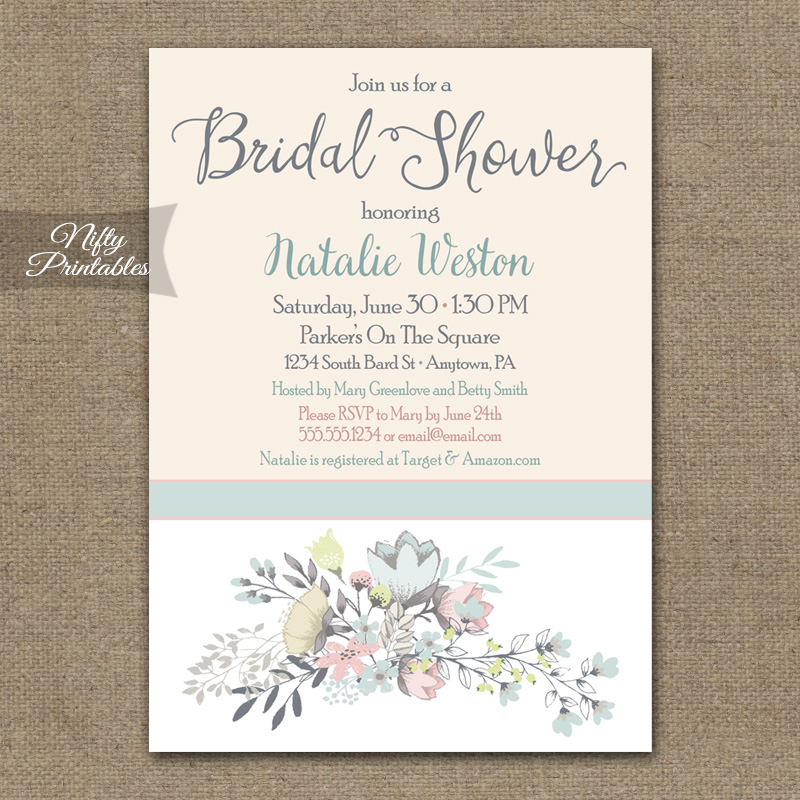 Floral Bouquet Bridal Shower Invitations
