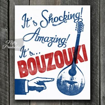Bouzouki Print - Funny Retro