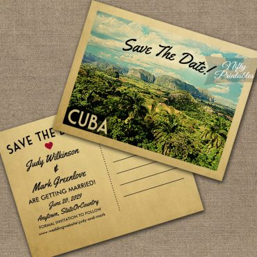 Cuba Save The Date Postcards PRINTED