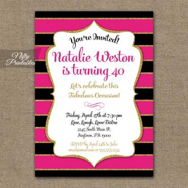 Hot Pink Black & Gold Birthday Invitations