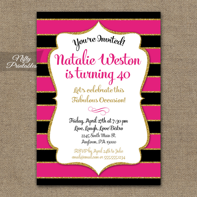 Hot Pink Black Gold Birthday Invitations Fuschia Stripe