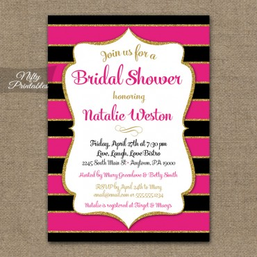 Hot Pink Bridal Shower Invitations - Black & Gold Glitter