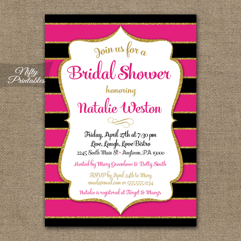 Hot pink bridal shower invitations black gold glitter nifty hot pink bridal shower invitations black gold glitter filmwisefo