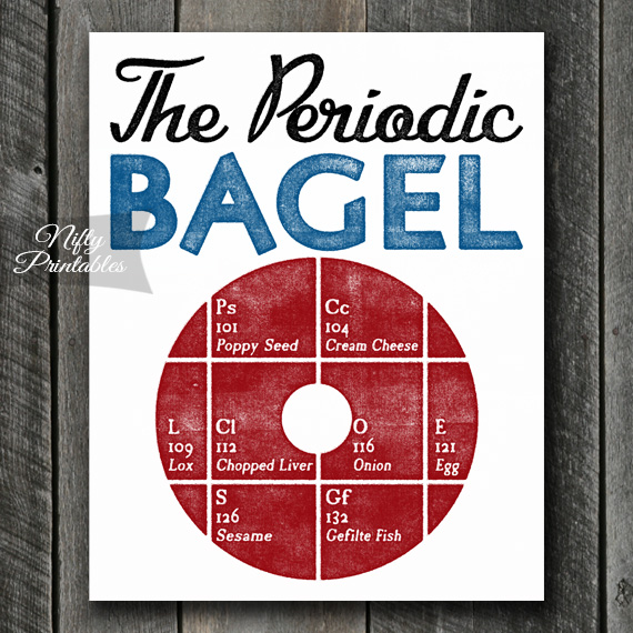 Funny Kitchen Art Funny Wedding Sign Instant Download Tea: Printable Funny Periodic Table Bagel