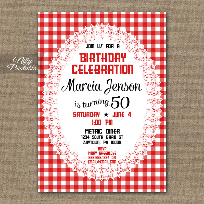 Red White Birthday Invitations - Summer Party