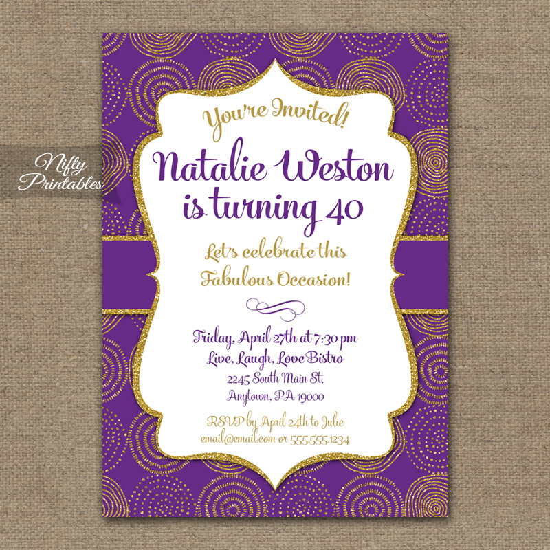 Purple & Gold Birthday Invitations