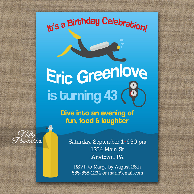 Scuba Diving Birthday Invitations