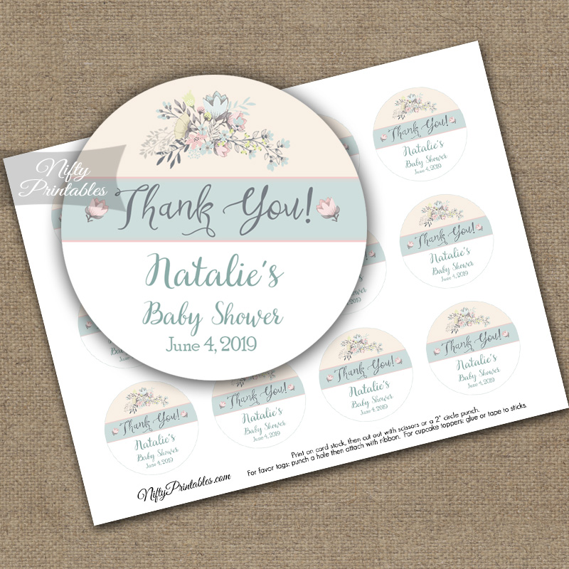 Shower & Baptism Thank You Favor Tags - Floral Bouquet