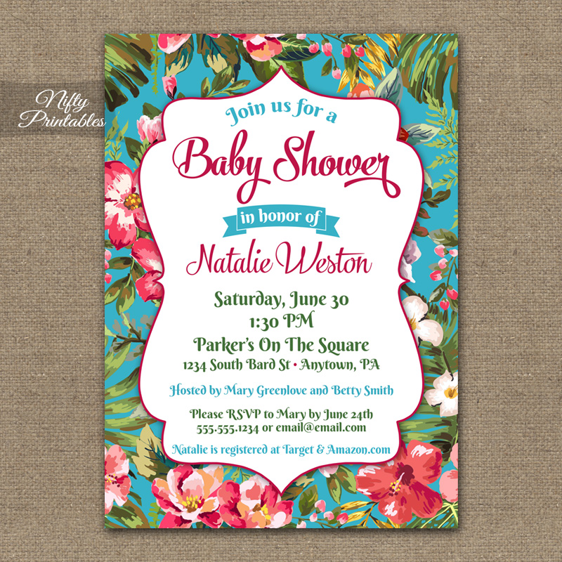Tropical Hawaiian Baby Shower Invitations - Luau