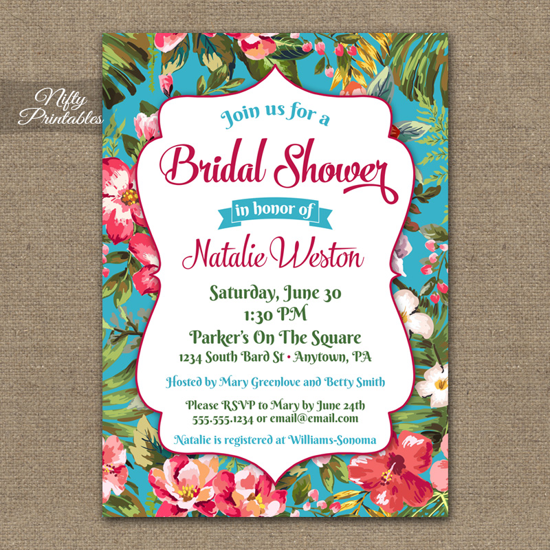 Hawaiian Bridal Shower Invitations - Tropical Luau
