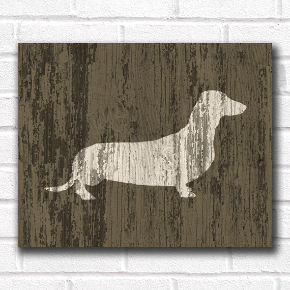 Dachshund Dog Print - Rustic Wood
