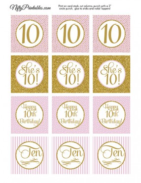 10th Birthday Cupcake Toppers - Pink Gold