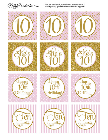 Printable 10th Birthday Cupcake Toppers - Pink Gold