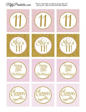 11th Birthday Cupcake Toppers - Pink Gold