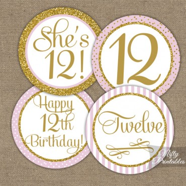 12th Birthday Cupcake Toppers - Pink Gold