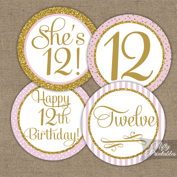 printable 12th birthday cupcake toppers